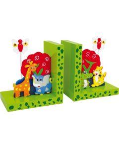 Houten boekensteun Wilde Dieren voor kinderen - 2-delige set.