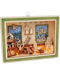 Small Foot Kerstdecoratie Schilderij Werkplaats 28 X 21 cm