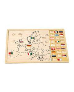 Small foot Houten puzzel europa met vlaggen 62-delig