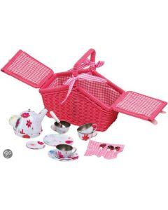Roze picknickmand met serviesje